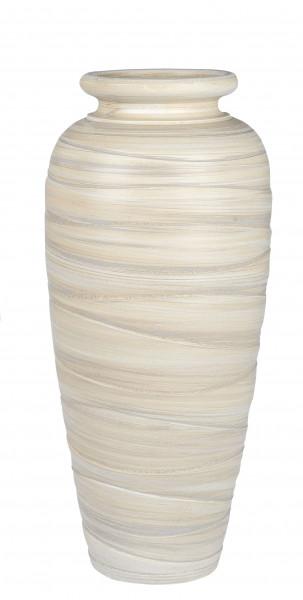 Moderne Deko Vase Blumenvase Bodenvase aus Keramik Creme/Braun Höhe 60 cm