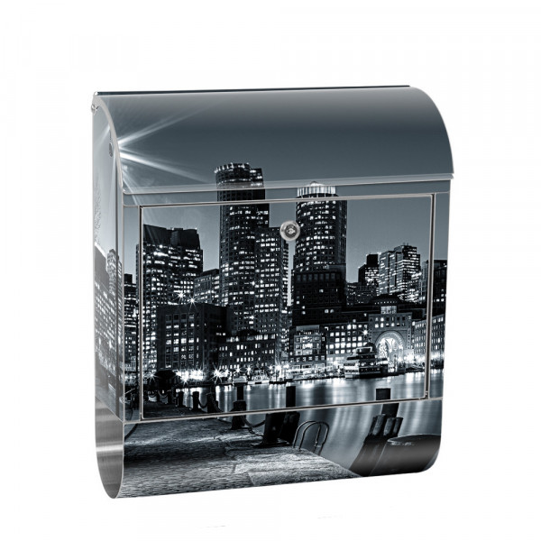 Stainless Steel Letterbox with Newspaper roll & Motif New York Skyline Night | No. 0843