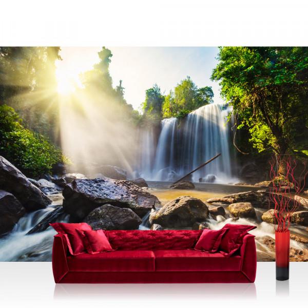 Vlies Fototapete Natur Tapete Wasserfall Bäume Natur Sonne Steine bunt