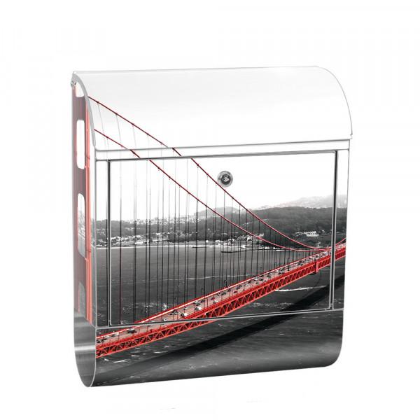 Edelstahlbriefkasten mit Zeitungsrolle & Motiv Golden Gate Bridge | no. 0429
