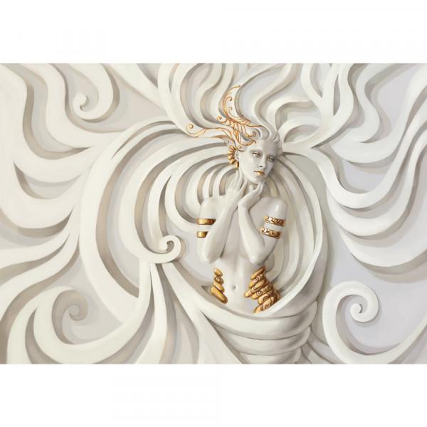 Vlies Fototapete A Perfect Woman Gemälde Tapete Frau Erotik Gold elegant 3D Wand beige
