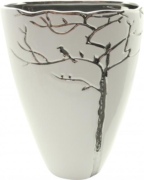 Modern deco vase flower vase table vase 'vermont' ceramic white / silver height 22.5 cm width 18 cm