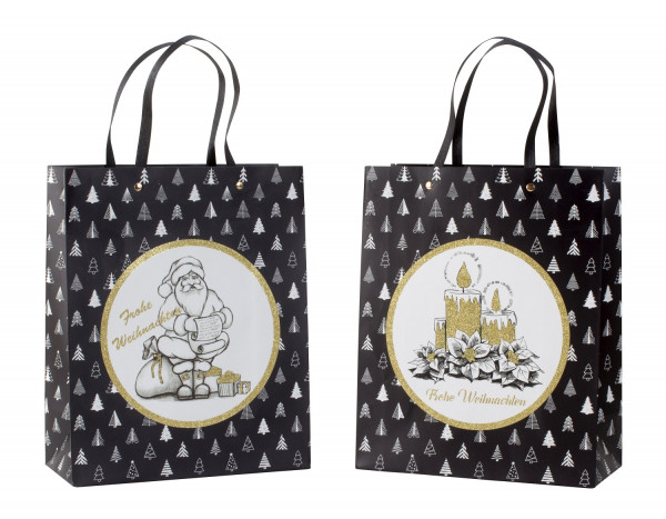 Gift bag Christmas black / gold with glitter in set of 4 Dimensions 26x32x12cm