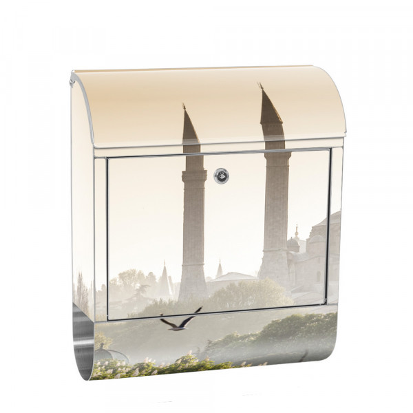 Stainless Steel Letterbox with Newspaper roll & Motif Istanbul mosque nature | No. 0250