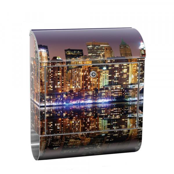 Edelstahlbriefkasten mit Zeitungsrolle & Motiv Empire State Building | no. 0020