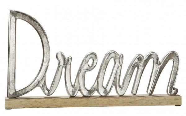 Moderner Schriftzug Aufsteller DREAM silber auf Mangoholz 43x5x24 cm