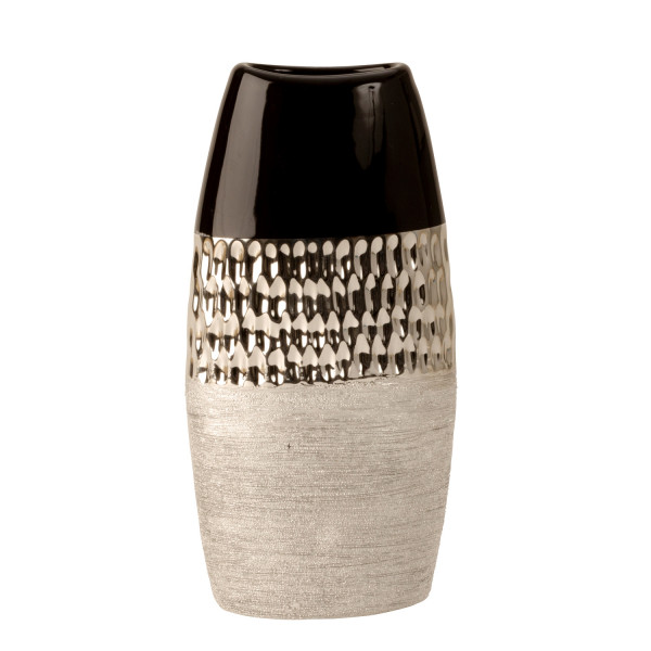 Modern Dekovase vase ceramic vase anthracite / silver height 26 cm