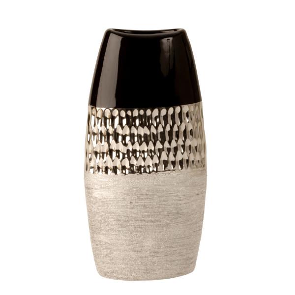 Modern Dekovase vase ceramic vase anthracite / silver height 26 cm