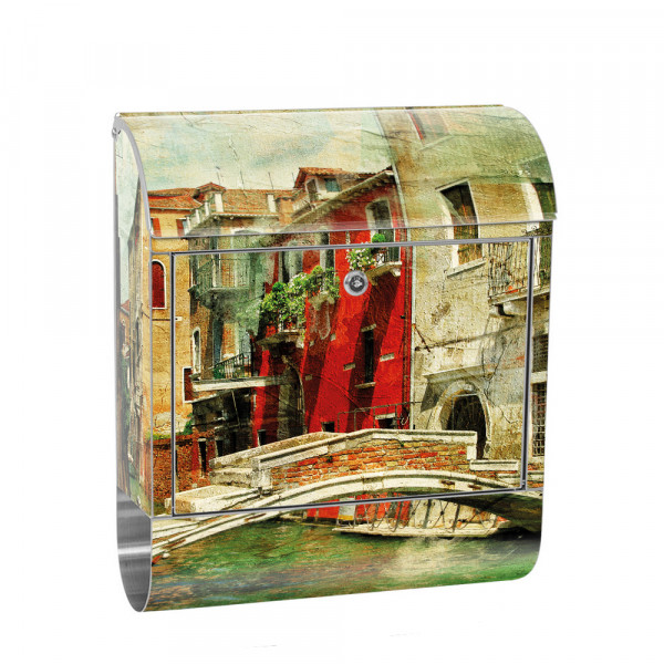 Stainless Steel Letterbox with Newspaper roll & Motif Venice Channel Italy | No. 0055