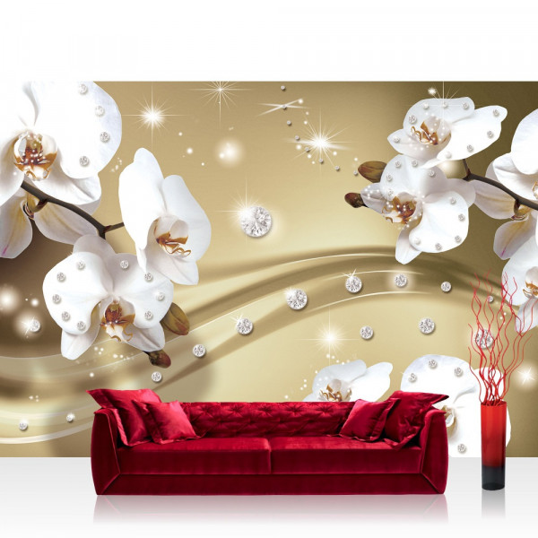 Vlies Fototapete Orchideen Tapete Ornament Orchidee Diamanten Blüten Blumen beige