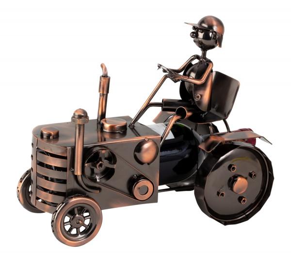 Moderner Weinflaschenständer Flaschenhalter Traktor aus Metall kupferfarben Höhe 25 cm Länge 29 cm