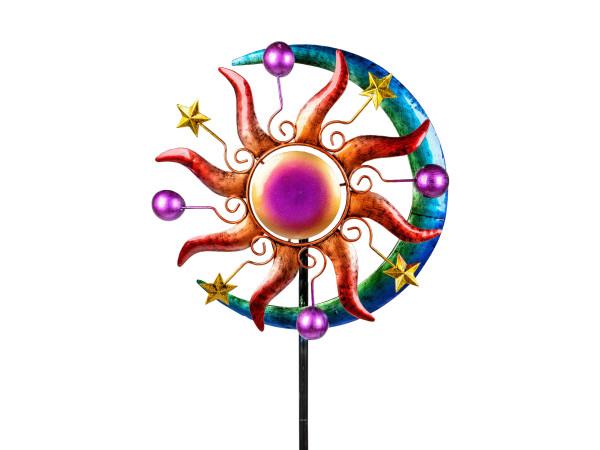 Windrad Windspiel Sonne als Gartenstecker aus Metall blau, grün, lila und rot Länge 124 cm