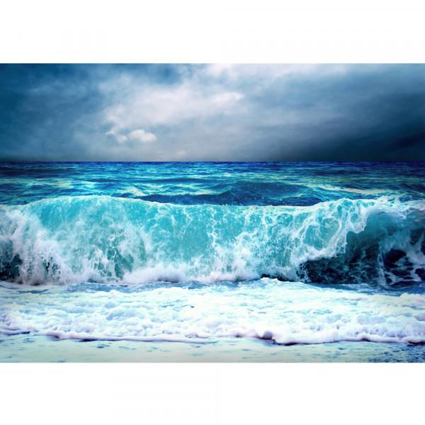 Vlies Fototapete Blue Seascape Meer Tapete Ozean Meer Wasser See Welle Sturm Blau Türkis blau