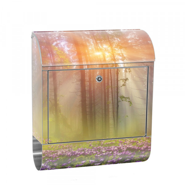 Stainless Steel Letterbox with Newspaper roll & Motif Forest trees nature Sun | No. 0239