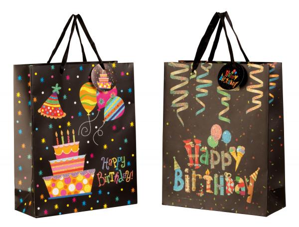 Moderne Geschenktüten Happy Birthday im 4er Set Abmessung 26x32x10cm