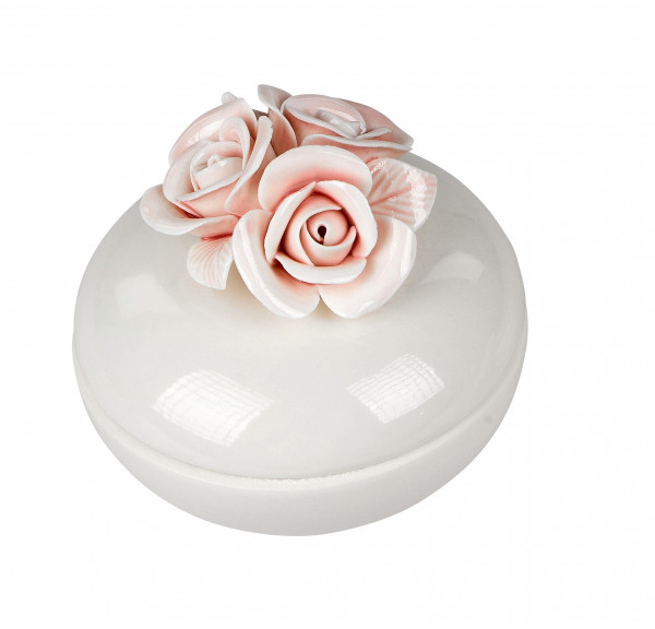 Sugar Can Sugar ball Biscuit Tin with Roses serving Dish Porcelain white/pink D 10 cm