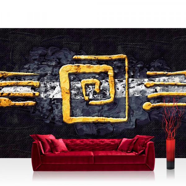 Vlies Fototapete Kunst Tapete Abstrakt Ornament Gelb Schwarz Hindergrund gelb