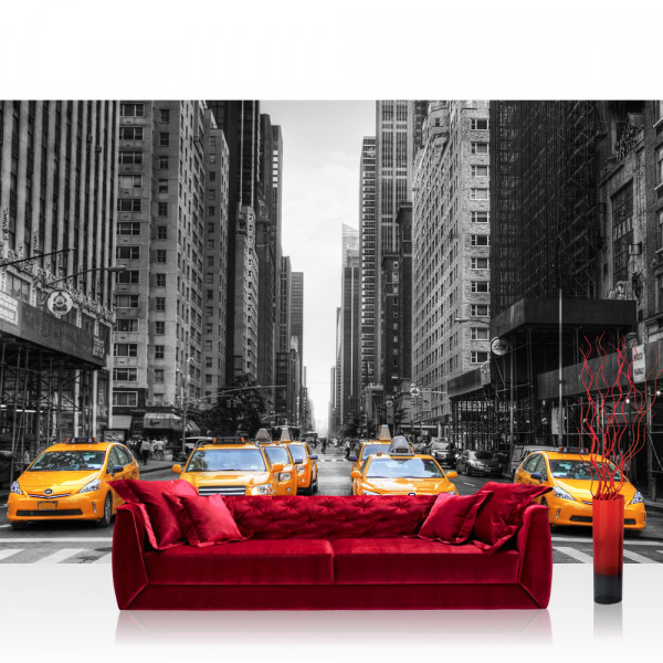 Vlies Fototapete Manhattan Tapete Manhattan Skyline Taxis City Stadt Skyscapers grau