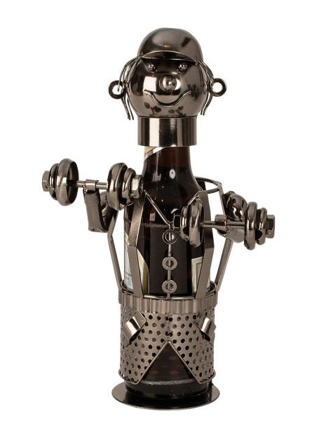 Moderner Bier Flaschenhalter Flaschenständer Bodybuilder aus Metall Höhe 26 cm