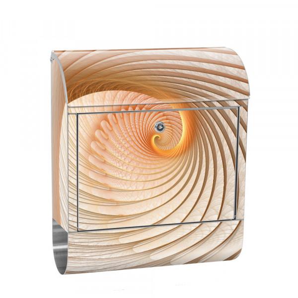 Edelstahlbriefkasten mit Zeitungsrolle & Motiv Muschel Spirale 3D | no. 0904