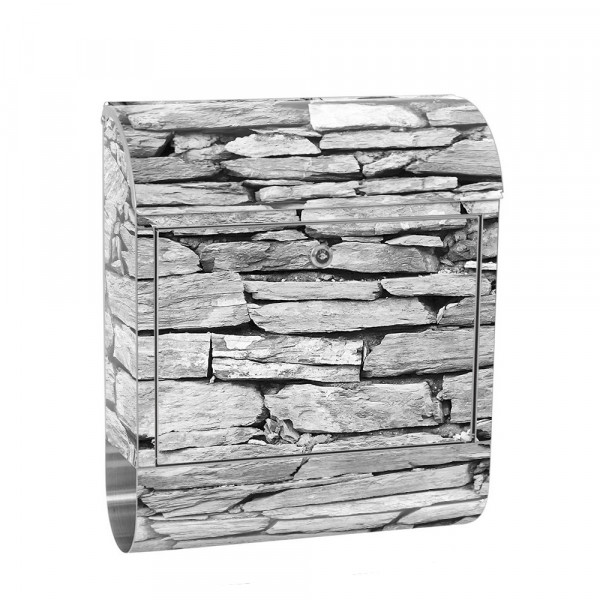 Stainless Steel Letterbox with Newspaper roll & Motif stone Stone Optic Wall | No. 0172