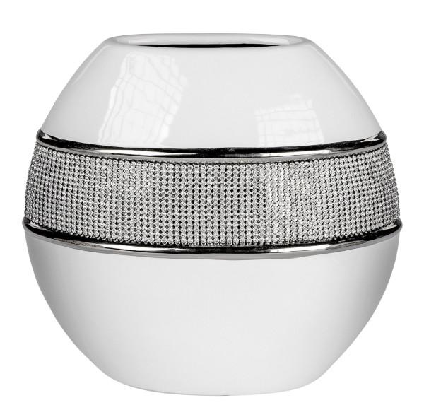 Moderne Dekovase Blumenvase Tischvase Vase aus Keramik weiß Silber glänzend Höhe 15 cm