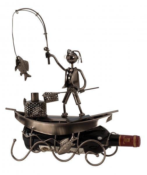 Moderner Wein Flaschenhalter Fischer im Boot aus Metall in silber Höhe 39 cm Breite 29,5 cm