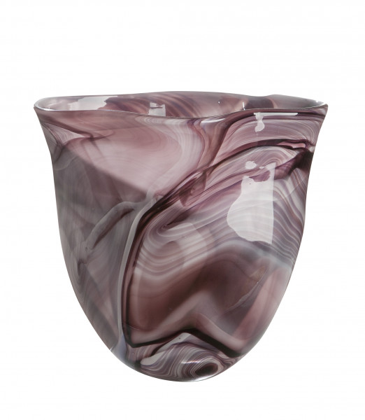 Beautiful Deco vase flower vase table vase glass vase violet / white / black 19x31x31 cm (WxWxH)