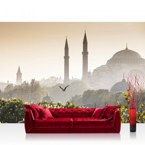 Vlies Fototapete Türkei Tapete Istanbul Türkei Moschee Natur Nebel braun