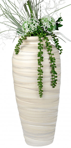 Moderne Deko Vase Blumenvase Bodenvase aus Keramik creme/braun Höhe 50 cm