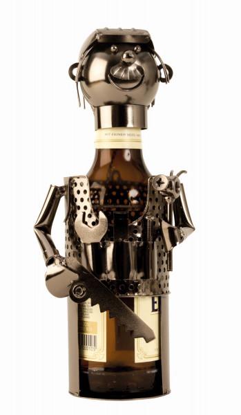 Moderner Bier Flaschenhalter Flaschenständer Mechaniker aus Metall Höhe 25 cm