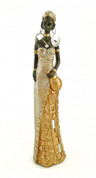 Moderne Skulptur Dekofigur Frau Afrikanerin gold/braun Höhe 24 cm