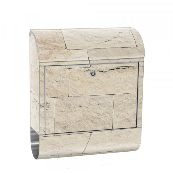 Stainless Steel Letterbox with Newspaper roll & Motif Sandstone Stone beige | No. 4300