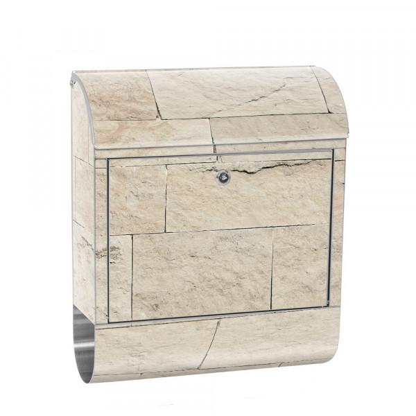 Edelstahlbriefkasten mit Zeitungsrolle & Motiv Sandstein Stein beige | no. 4300