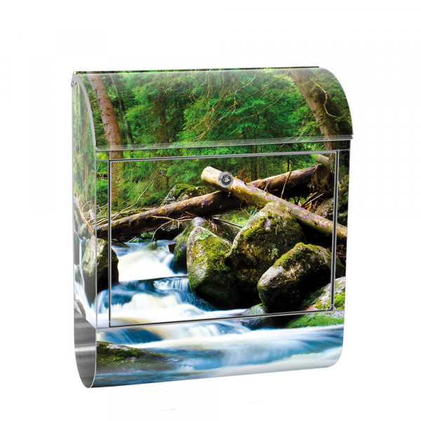 Stainless Steel Letterbox with Newspaper roll & Motif Forest Waterfall Nature | No. 0031