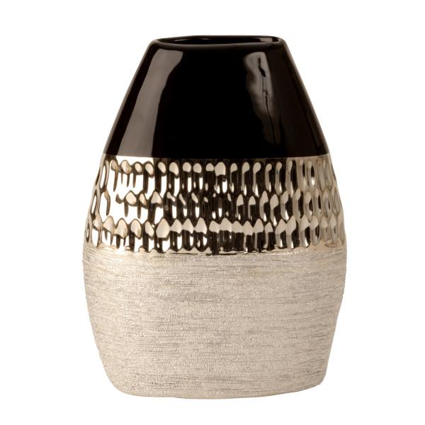 Moderne Dekovase Blumenvase Vase aus Keramik anthrazit/silber Höhe 22 cm