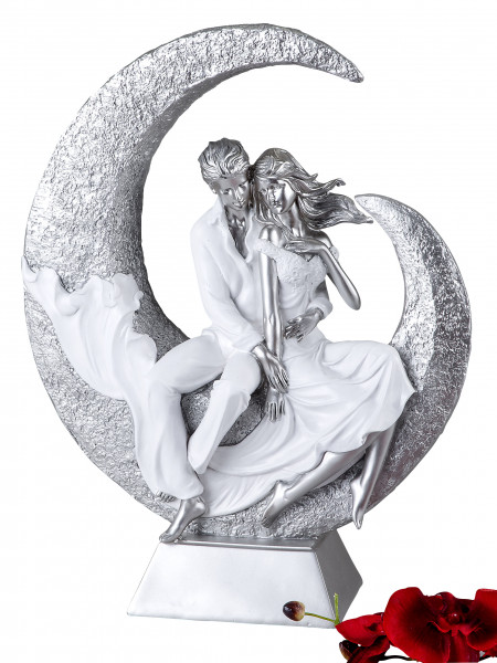 Modern and exclusive sculpture lovers on the moon ceramic white / silver Height 40 cm