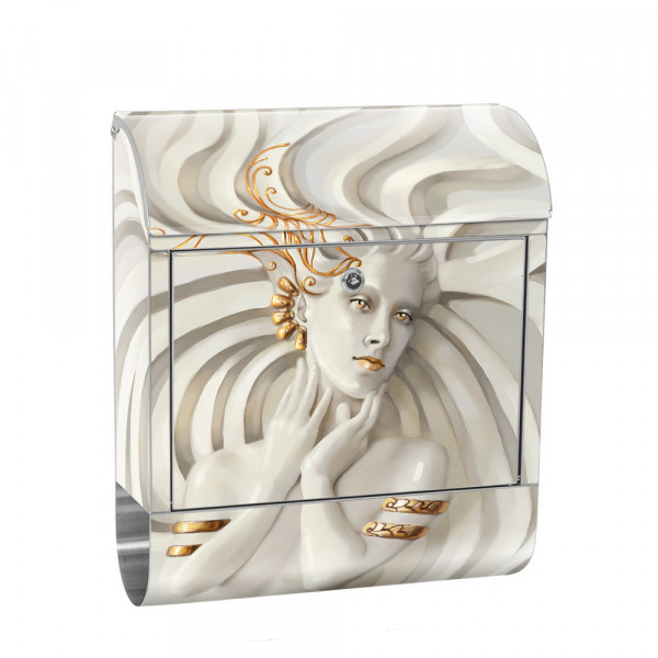 Stainless Steel Letterbox with Newspaper roll & Motif Woman Erotic elegant 3D | No. 0045