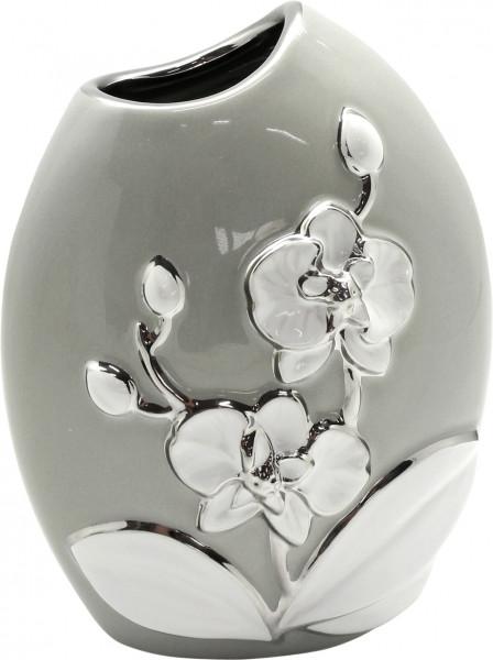 Moderne Deko Vase Blumenvase Tischvase aus Keramik grau/weiß/silber Höhe 19 cm