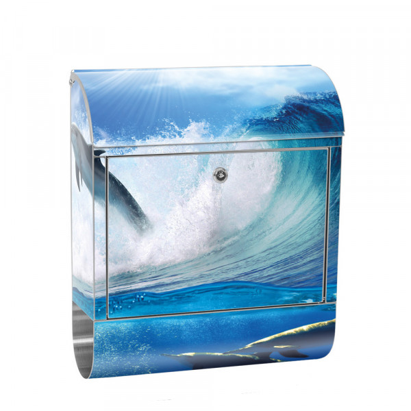 Stainless Steel Letterbox with Newspaper roll & Motif Dolphin Sea Wave | No. 0531