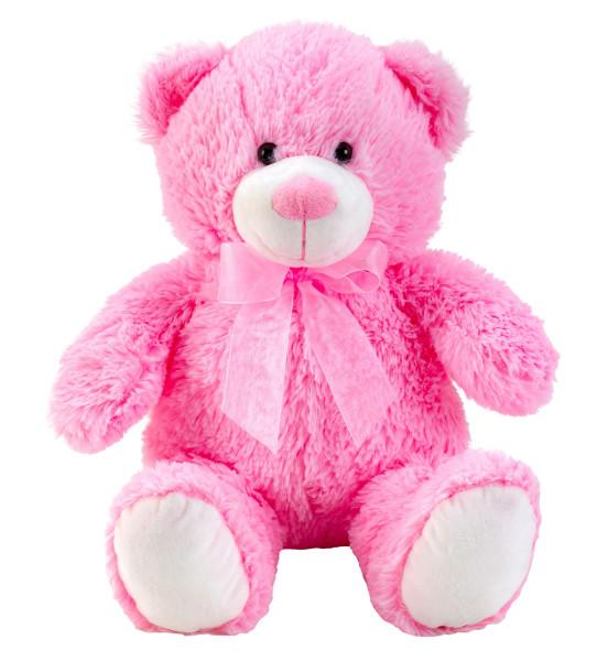 Teddybär Kuschelbär rosa mit Schleife 50 cm groß Plüschbär Kuscheltier samtig weich - zum liebhaben