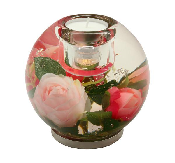 Moderner Teelichthalter Windlichthalter aus Glas Höhe 10 cm inklusive LED Licht *Exklusive Handarbei