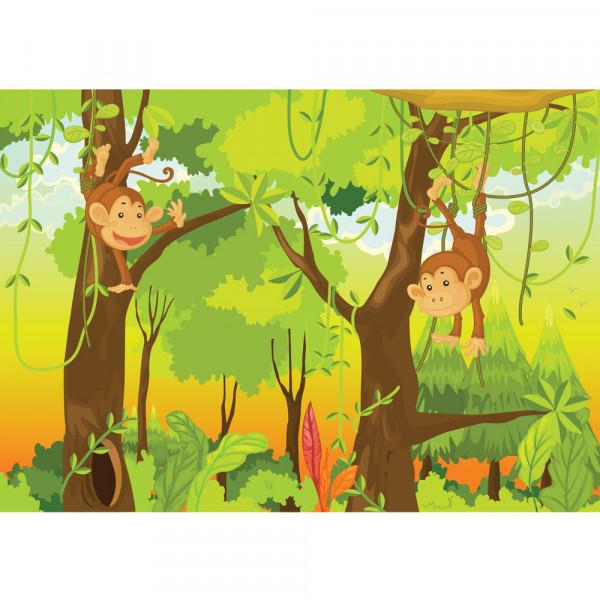 Vlies Fototapete Jungle Animals Monkeys Kindertapete Tapete Kinderzimmer Safari Comic Dschungel