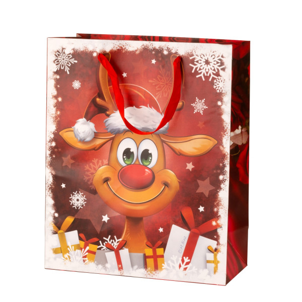 Giant gift bag XXL Christmas funny reindeer set of 2 size 50x72x16cm