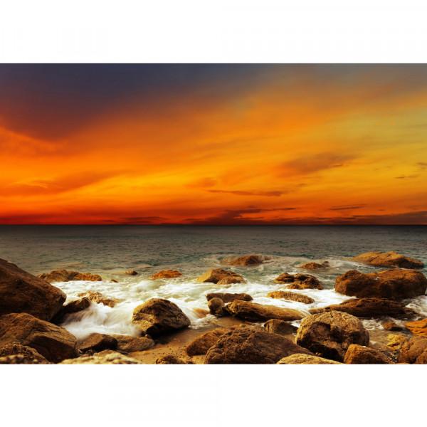 Vlies Fototapete Rocky Beach Sunset Sonnenaufgang Tapete Sonnenaufgang Strand Meer Felsen Sunset