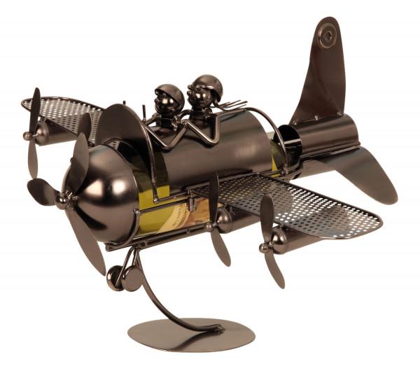 Moderner Wein Flaschenhalter Flaschenständer Flugzeug aus Metall in silber Höhe 29,5 cm cm Breite 49