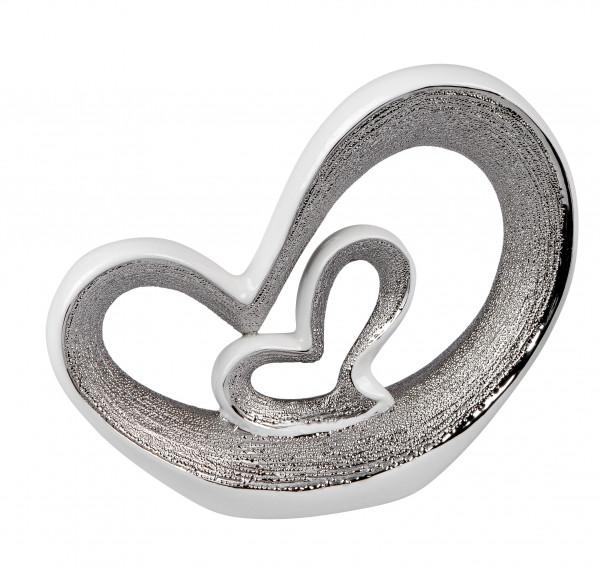 Moderne Herz Skulptur Dekofigur aus Keramik in weiß/silber 21x18 cm