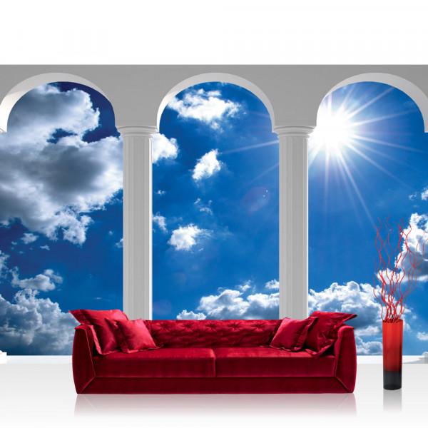 Vlies Fototapete Himmel Tapete Wolken Sonne Himmel Terrasse Bögen Ausblick weiß