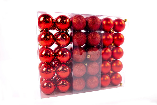 Large Christmas balls set 61 pieces Ø 6 cm Red including star lace Christmas tree decorations