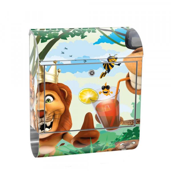 Edelstahlbriefkasten mit Zeitungsrolle & Motiv Kinder Zoo Tiere | no. 0087